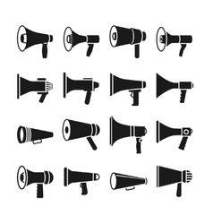 Megaphone announcement loudspeaker icons vector image