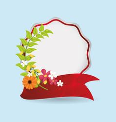 spring label ornament floral ribbon vector image