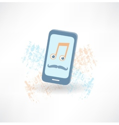 Mobile phone with a mustache and music notes icon vector