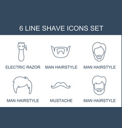 6 shave icons vector