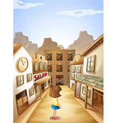 A small girl near the saloon bars vector