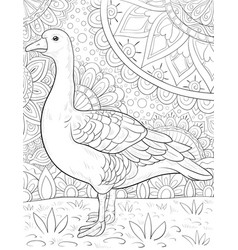 Adult coloring bookpage a cute goose on the vector