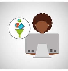 Afro girl using computer data analysis vector