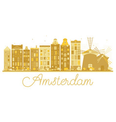 amsterdam city skyline golden silhouette vector image