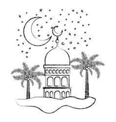 arabic castle with moon in the night vector image