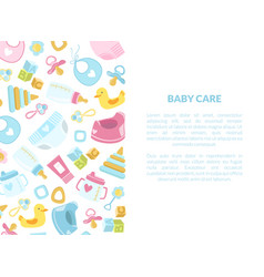 Bacare banner template with newborn accessories vector