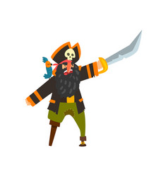 bearded pirate character with wooden leg pointing vector image