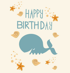 birthday card with whale fish vector image