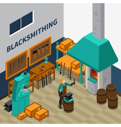 Blacksmith Shop Facility Indoor Isometric Poster vector image