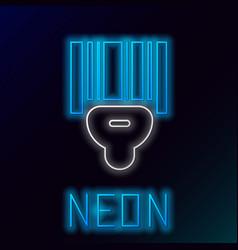 Blue glowing neon line scanner scanning bar code vector