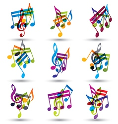 Bright expressive jolly musical notes and symbols vector