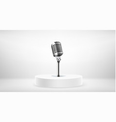 Bright round stage with microphone microphone vector