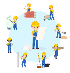 building house construction set flat builders vector image