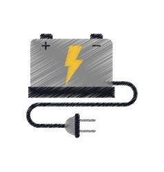 car battery high voltage mechanic cable plug ed vector image