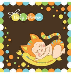 card with the birth of a child dressed as a cat vector image