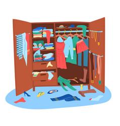 Cartoon color messy wardrobe concept vector