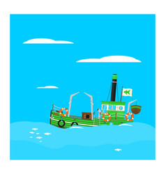 Cartoon fishing boat vector