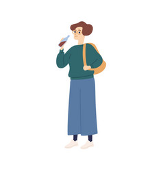 Casual student woman with backpack drinking soda vector