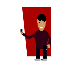 character with phone vector image