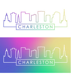 charleston skyline colorful linear style vector image