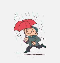 Child running in the rain with an umbrella vector