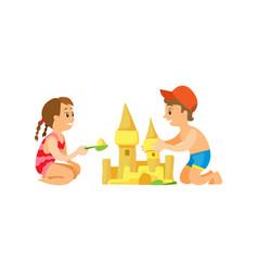 Children building sand castle beach activity vector