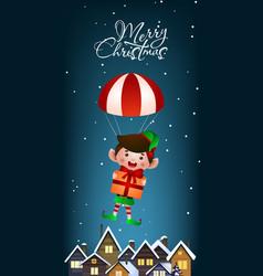 Christmas vertical banner design jolly elf vector