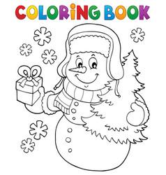 Coloring book snowman topic 6 vector
