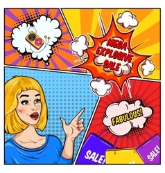 Comic Sale Colorful Template vector image