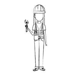 constructor woman with wrench avatar character vector image