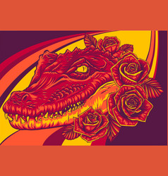 Crocodile head with roses vector