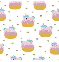 cute cat unicorn seamless pattern vector image