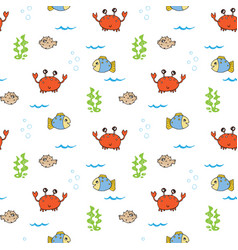 cute crab and fishes seamless pattern cartoon vector image