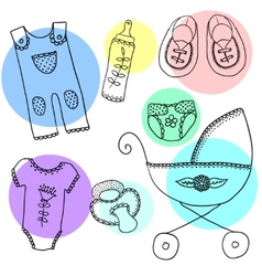 cute elements for baarrival card vector image
