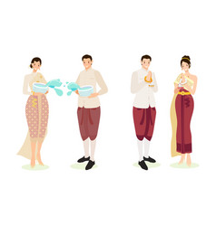 Cute thai couple in traditional dress vector