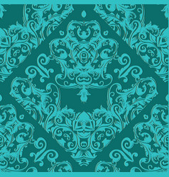 damask seamless pattern light turquoise floral vector image