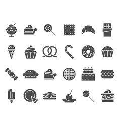 Desserts silhouette icon sweet muffin cakes vector