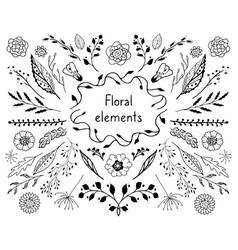 doodle floral elements vector image