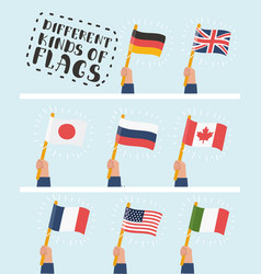 flag in hand round icons set human hands holding vector image