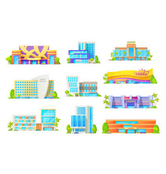 flat buildings hotels and casino architecture vector image
