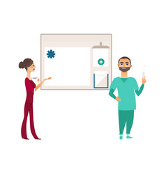 Flat doctor with syringe nurse info board vector