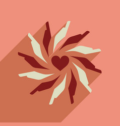 Flat web icon with long shadow hands heart vector