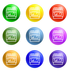 gas stove icons set vector image