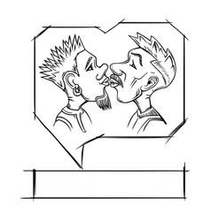 gay kissing love vector image