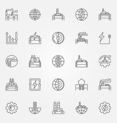 Geothermal energy icons set vector
