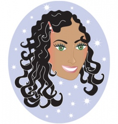 girl with wavy hair vector image