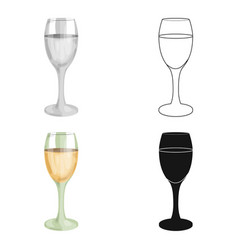 Glass of white wine icon in cartoon style isolated vector