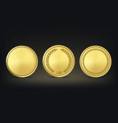 golden award medals set on black background vector image