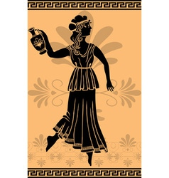 Greek woman stencil on orange fone vector