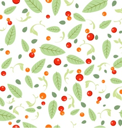 Green Leaves Seeds Floral Spring Seamless Pattern vector image